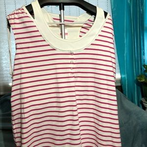 Cute sleeveless, dark pink & white stripped top